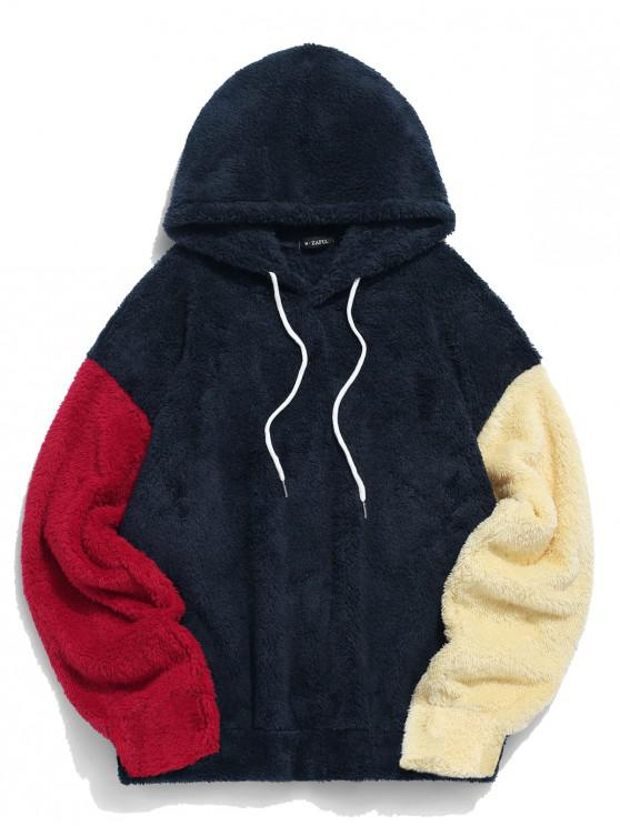 womens ZAFUL Color-blocking Splicing Fuzzy Pullover Hoodie - CADETBLUE M