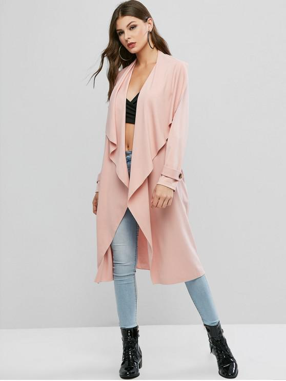 shops ZAFUL Solid Color Buttons Open Coat - FLAMINGO PINK M