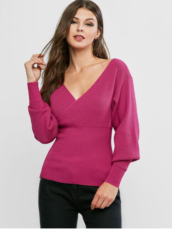 affordable V Neck Solid Surplice Sweater - ROSE RED ONE SIZE