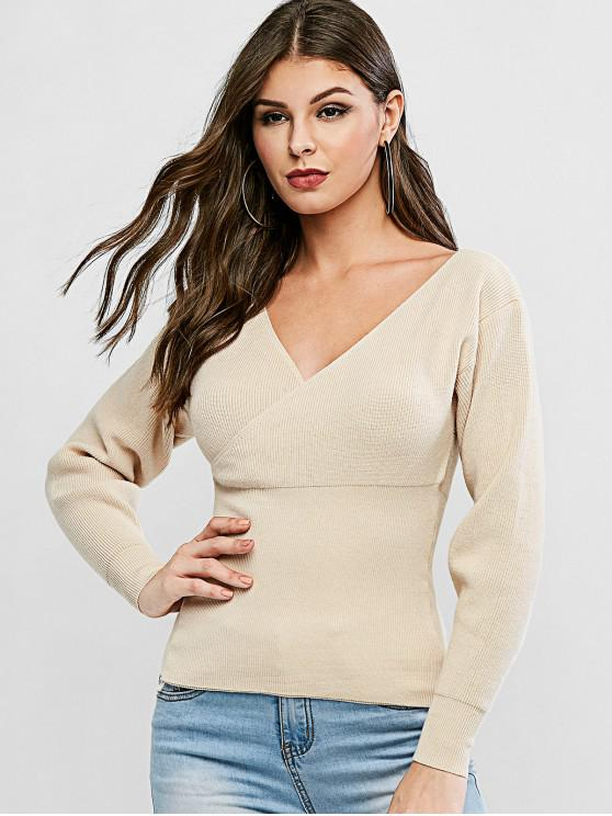 outfit V Neck Solid Surplice Sweater - APRICOT ONE SIZE