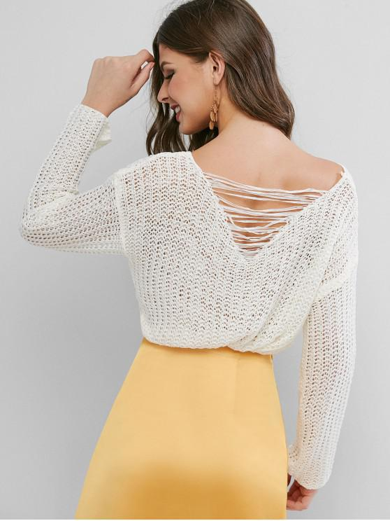 online Ripped Back Drop Shoulder Crochet Sweater - WHITE ONE SIZE
