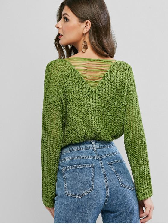 trendy Ripped Back Drop Shoulder Crochet Sweater - GREEN ONE SIZE