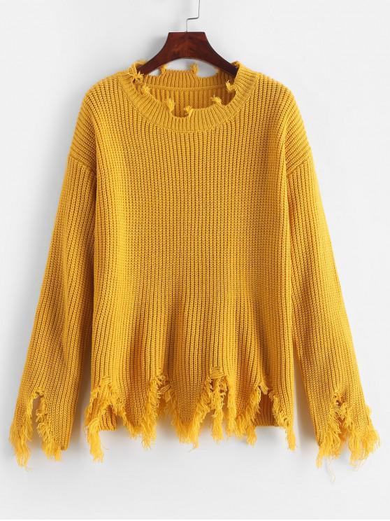 women's ZAFUL Sharkbite Trim Frayed Drop Shoulder Sweater - SUN YELLOW ONE SIZE