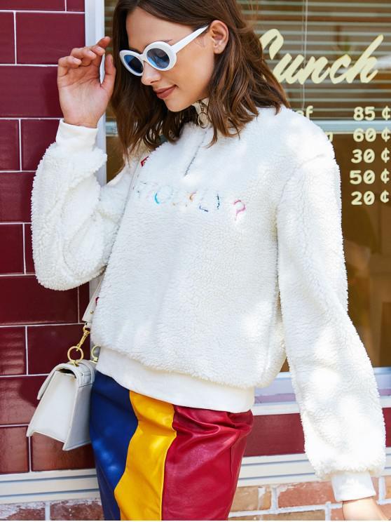 women's Half Zip Fluffy Letter Embroidered Teddy Sweatshirt - WHITE L