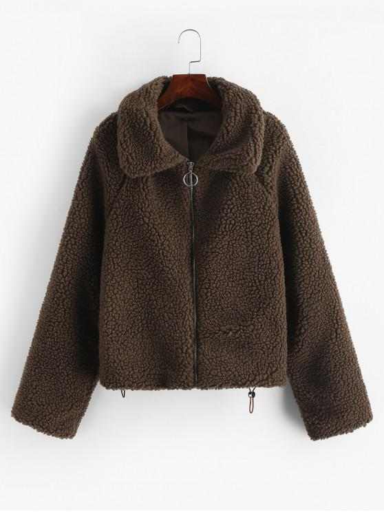 new Raglan Sleeve Zip Up Pockets Teddy Jacket - DARK KHAKI S