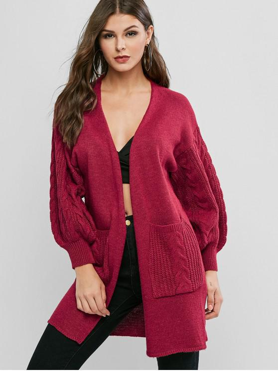 fancy Drop Shoulder Pocket Longline Cardigan - RED ONE SIZE