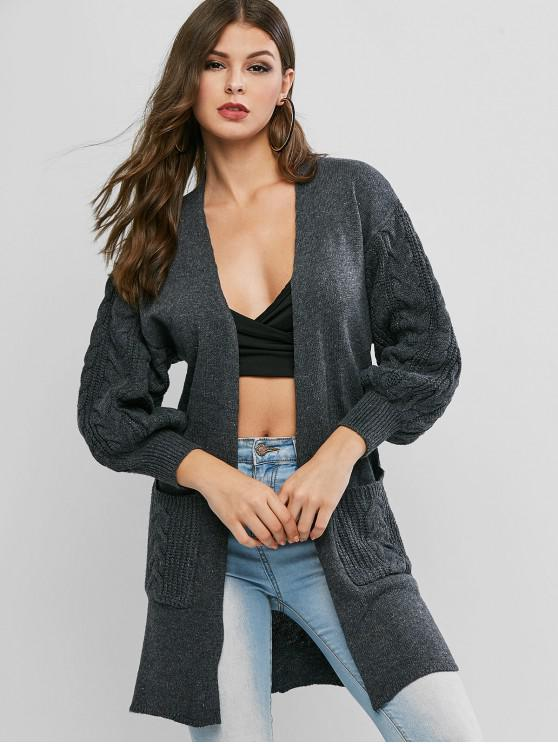 fashion Drop Shoulder Pocket Longline Cardigan - DARK GRAY ONE SIZE