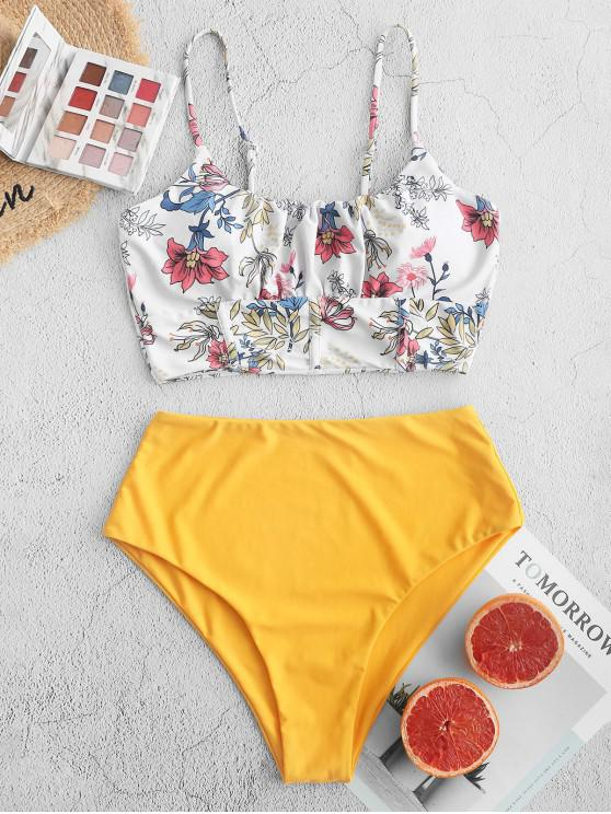 sale ZAFUL Flower High Waisted Gathered Square Front Tankini Swimsuit - BRIGHT YELLOW 2XL