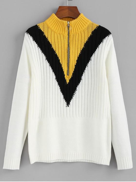 chic ZAFUL Color-blocking Pull Ring Zip Mock Neck Sweater - MULTI L