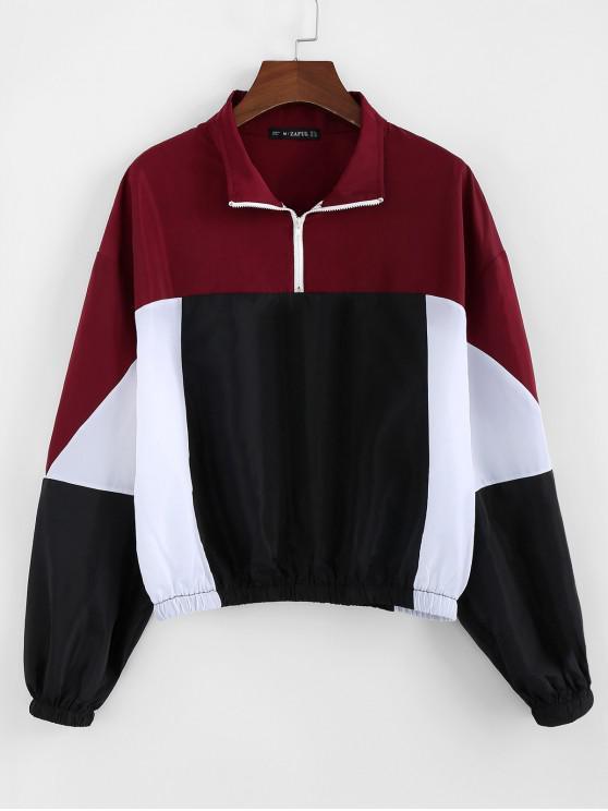 hot ZAFUL Colorblock Half-zip Windbreaker Jacket - MULTI XL