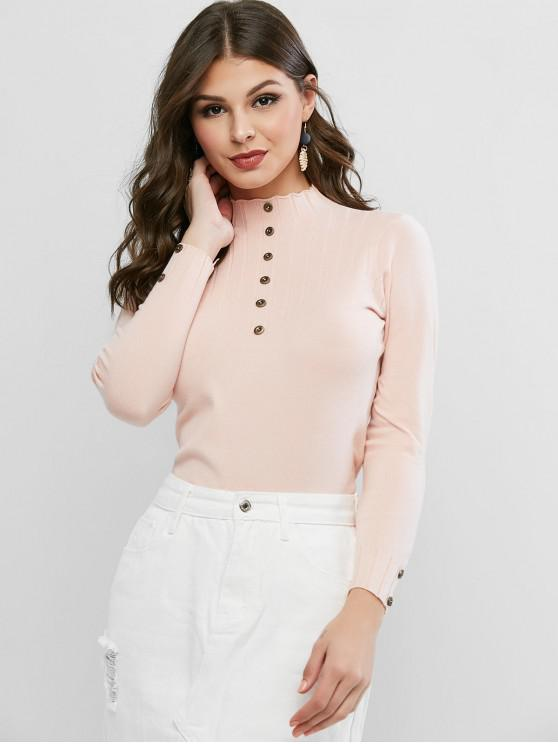 affordable High Neck Plain Buttoned Slim Sweater - PINK ONE SIZE