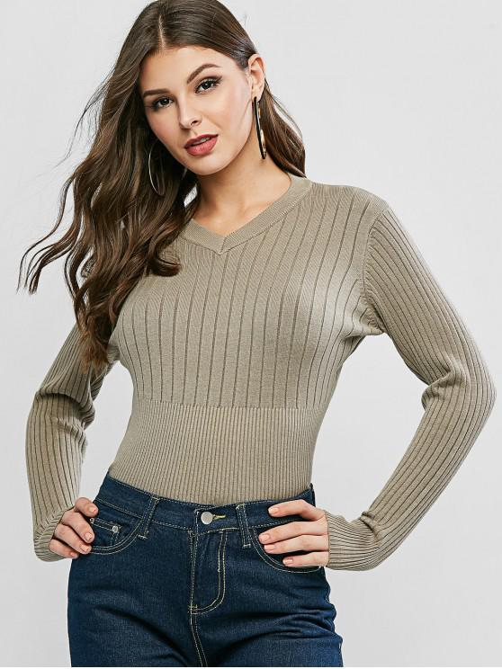 outfits V Neck Ribbed Sweater - LIGHT KHAKI ONE SIZE