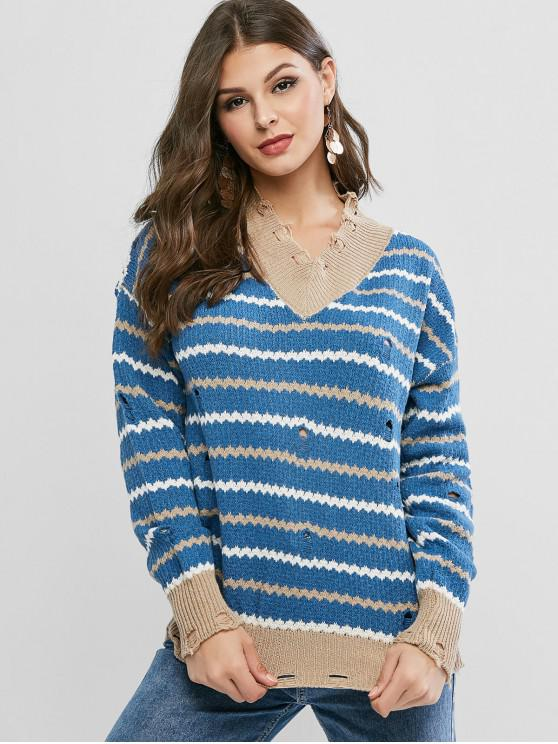 chic Zigzag V Neck Ripped Sweater - SILK BLUE ONE SIZE