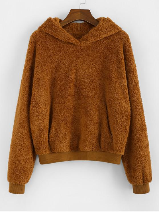 buy ZAFUL Drop Shoulder Kangaroo Pocket Teddy Hoodie - BROWN S