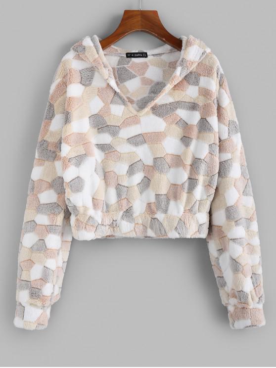 buy ZAFUL Fuzzy Patchwork Hoodie - MULTI M