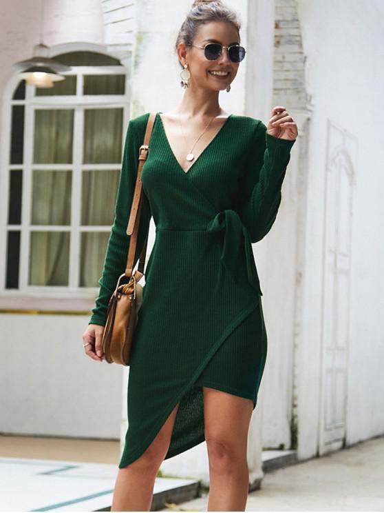 fashion V Neck Knotted Asymmetric Solid Dress - GREEN XL