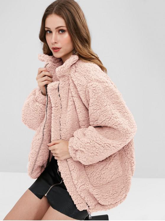 Карманы Искусственный мех Тедди Пальто - Розовый M