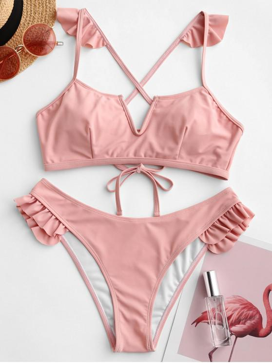 ZAFUL V prin cablu zburli Lace Up Bikini Costume de baie - Roz deschis M