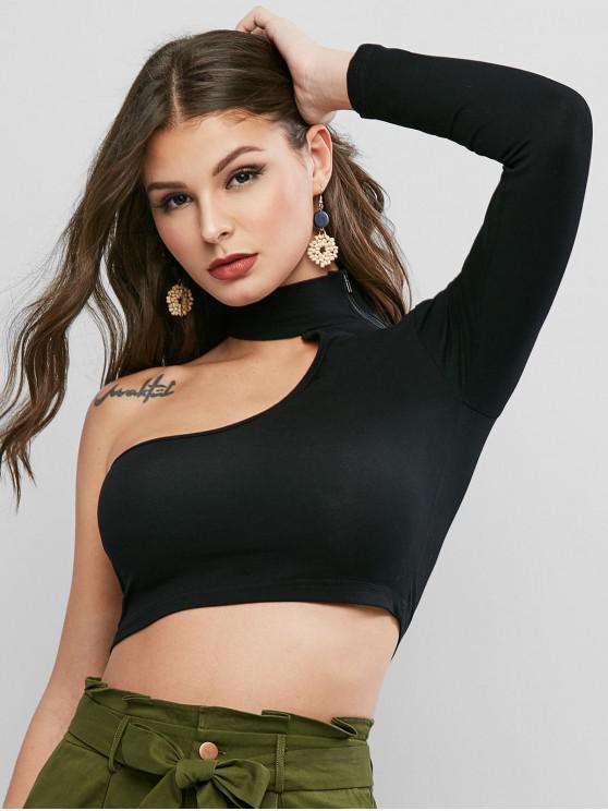 chic One Shoulder Zipper Crop Tee - BLACK S