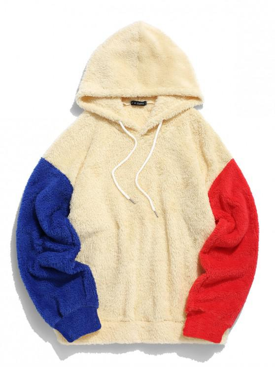 shop ZAFUL Color-blocking Splicing Fuzzy Pullover Hoodie - RUBBER DUCKY YELLOW L