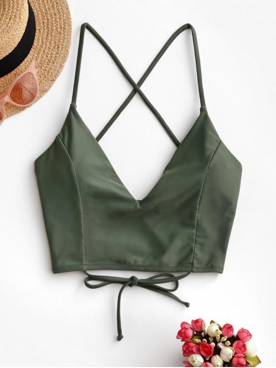hot ZAFUL Crisscross Lace-up Cropped Bikini Top - CAMOUFLAGE GREEN M