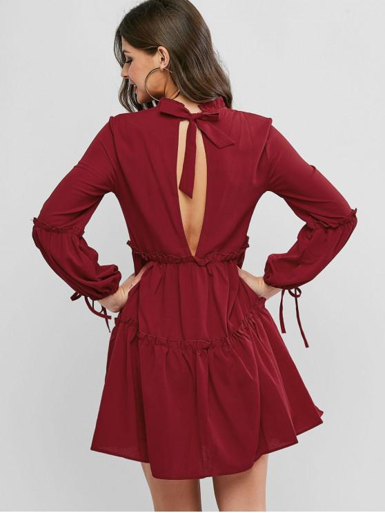 fashion Ruff Collar Frilled Long Sleeve Tie Dress - RED WINE S