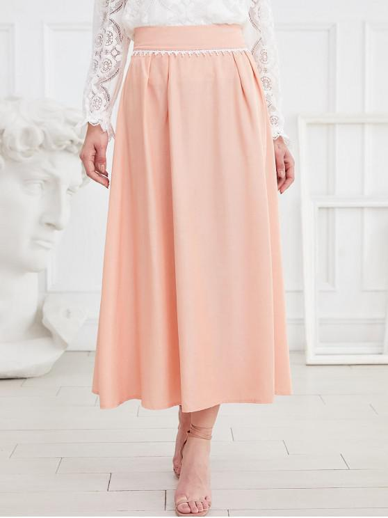 affordable Laced A Line Maxi Skirt - DEEP PEACH XL