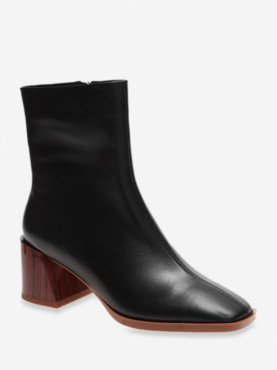 buy Square Toe Clog Block Heel Short Boots - BLACK EU 35