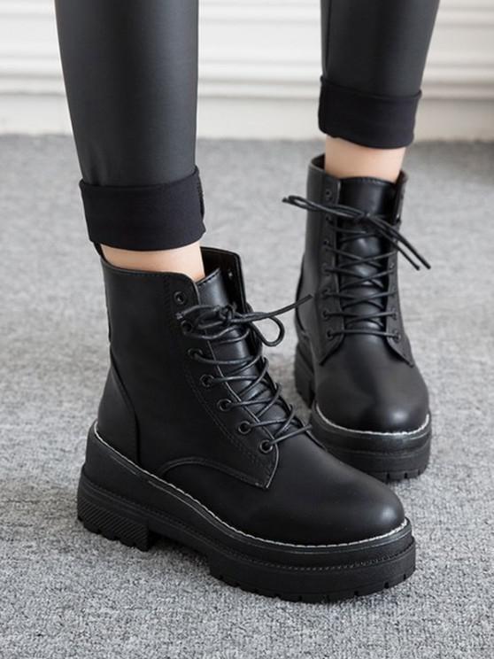 shop Lace Up Platform Chunky Heel Ankle Boots - BLACK EU 36