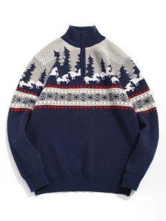 Cartoon Pattern Christmas Sweater - Cadetblue L