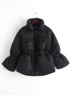 Veste Doudoune Zippée Taille à Cordon Avec Poches - Noir M