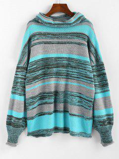 ZAFUL Drop Shoulder Colorblock Cowl Neck Sweater - Multi-c M