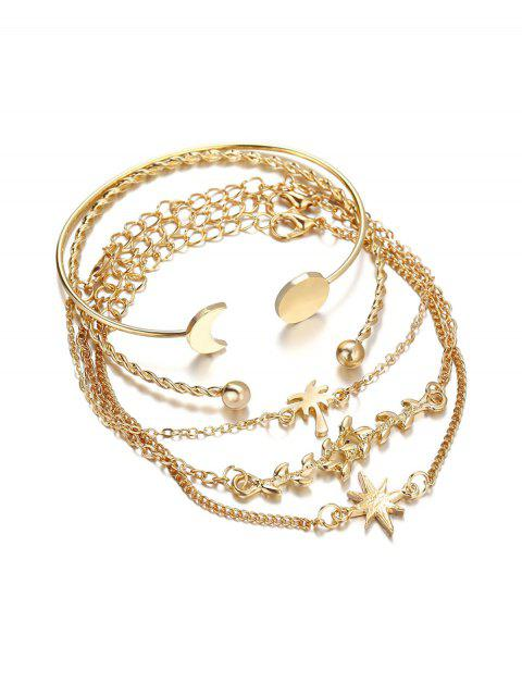 outfit Simple Leaf Celestial Cuff Bracelet Set - GOLD  Mobile
