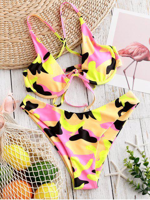 ZAFUL Maillot de Bain Bikini Côtelé Croisé Camouflage à Armature - Multi-A S Mobile