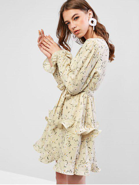 outfits ZAFUL Frilled Tiny Floral Mini Surplice Dress - BEIGE XL Mobile