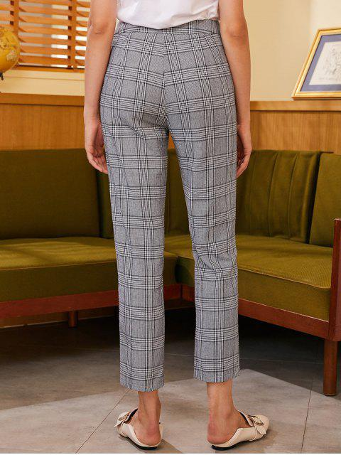 Pantalones rectos a cuadros con cremallera lateral ZAFUL - Negro XL Mobile