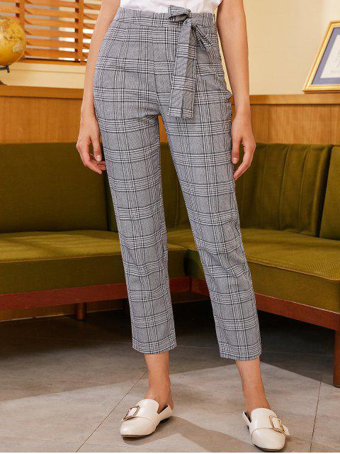 Pantalones rectos a cuadros con cremallera lateral ZAFUL - Negro S Mobile