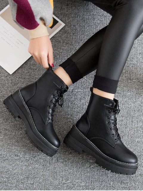 sale Lace Up Platform Chunky Heel Ankle Boots - BLACK EU 39 Mobile