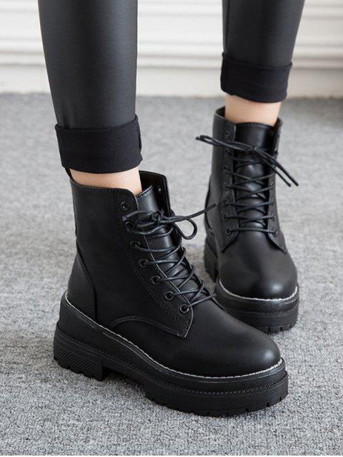 shop Lace Up Platform Chunky Heel Ankle Boots - BLACK EU 36 Mobile