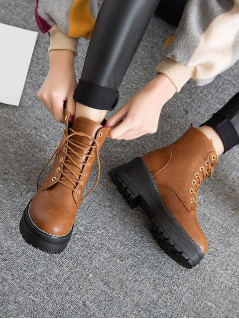 shop Lace Up Platform Chunky Heel Ankle Boots - LIGHT BROWN EU 39 Mobile