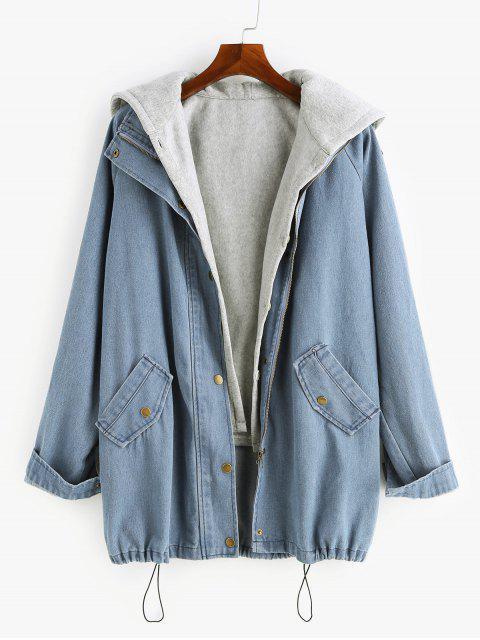 chic Two Pieces Zip Up Casual Denim Jacket - DENIM BLUE L Mobile