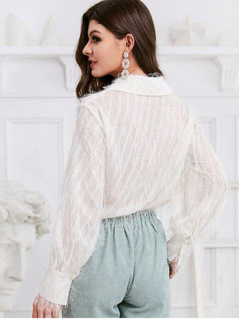 best ZAFUL Button Down Solid Fuzzy Fringes Shirt - WHITE S Mobile