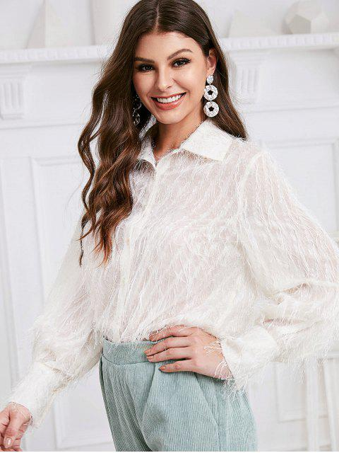 latest ZAFUL Button Down Solid Fuzzy Fringes Shirt - WHITE L Mobile