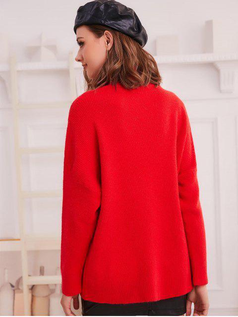fancy Turtleneck Drop Shoulder Loose Plain Sweater - RED ONE SIZE Mobile