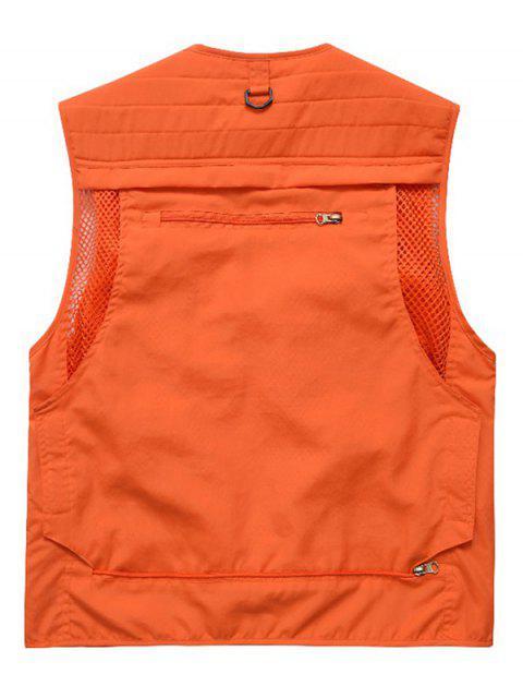 best Outdoor Plain Multi Pocket Cargo Vest - ORANGE M Mobile