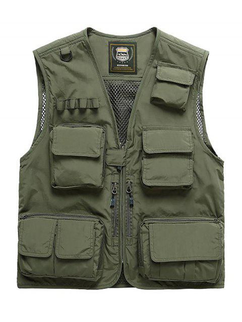 trendy Outdoor Plain Multi Pocket Cargo Vest - ARMY GREEN M Mobile