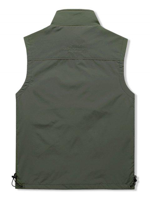 womens Outdoor Zip Up Multi Pockets Cargo Vest - ARMY GREEN M Mobile