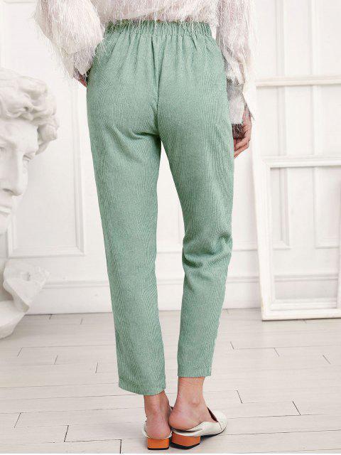 ZAFUL talle alto Bolsillos pana pantalones rectos - Verde M Mobile