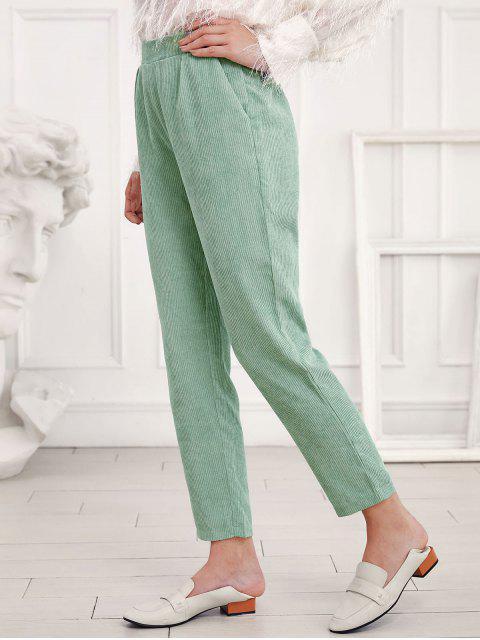 ZAFUL talle alto Bolsillos pana pantalones rectos - Verde S Mobile