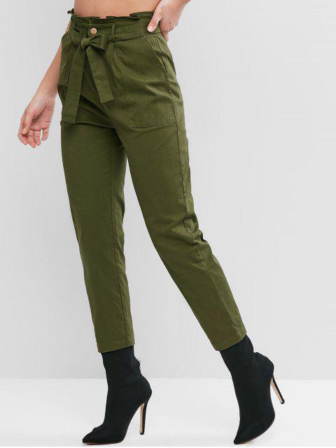 Color sólido con cinturón de los pantalones de cintura alta ZAFUL - Ejercito Verde M Mobile